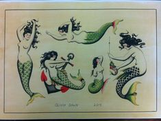 Traditional mermaid tattoo flash sheet.. Ribcage