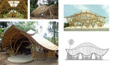 """""""Turtle"""" Class Room made out of Bamboo Building, Natural Building, Green Building, Bamboo Roof, Bamboo Art, Modern Tropical House, Tropical Houses, Bamboo Architecture, Concept Architecture"""