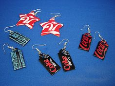 Upcycle Jewelry -Earrings from Alluminum Cans upcycled jewelry Recycle, Reduce, and Reuse: Earrings from Aluminum Cans Recycled Decor, Recycled Jewelry, Recycled Crafts, Diy Recycled Earrings, Recycled Clothing, Recycled Fashion, Repurposed, Unique Earrings, Diy Earrings