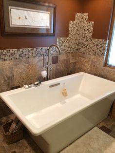 Bathroom remodel Designed by Jen, Floor to Ceiling, Kohler tub, Alterna flooring, Maniscalco mosaic tile.