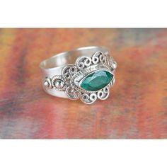 Amazing Emerald Gemstone 925 Silver Ring via Polyvore featuring jewelry, rings, silver jewelry, silver gemstone rings, emerald rings, silver rings and silver emerald ring