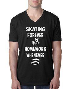 Skating forever homework whenever V Neck T Shirt