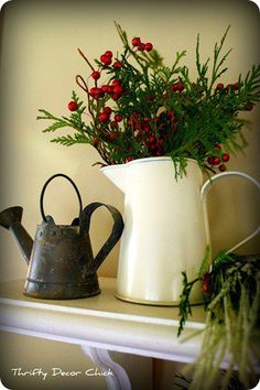 White Pitcher + Greenery & Red Berries = Easy Christmas Decor Thrifty Decor Chick: My Go-To Christmas Decor Merry Little Christmas, Noel Christmas, Primitive Christmas, Country Christmas, Winter Christmas, All Things Christmas, Vintage Christmas, Christmas Crafts, Simple Christmas
