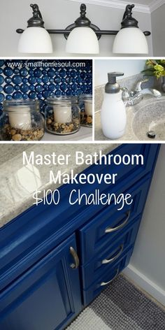 I love everything about this Master Bathroom Makeover!  Great update on a $100 Budget.  #bathrooms #bathroommakeover #budgetmakeover #DIYbathroom #dollarstoredecor #lightupdate #easylightupdate