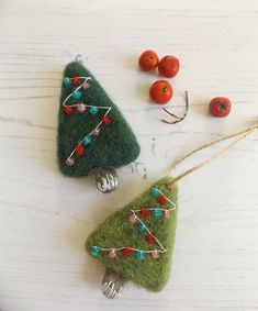 Needle Felted Christmas Tree made to order needle felted Diy Felt Christmas Tree, Felt Christmas Decorations, Christmas Ornament Crafts, Handmade Christmas, Christmas Nativity, Felt Crafts Diy, Felted Wool Crafts, Felt Diy, Needle Felted Ornaments