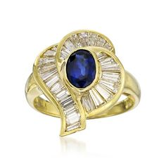 C. 1980 Vintage 1.25 Carat Sapphire and 1.75 ct. t.w. Diamond Ring in 18kt Yellow Gold. Size 8