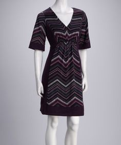 Take a look at this Plum Zigzag V-Neck Dress by Rabbit Rabbit Rabbit Designs on #zulily today! $25 !!