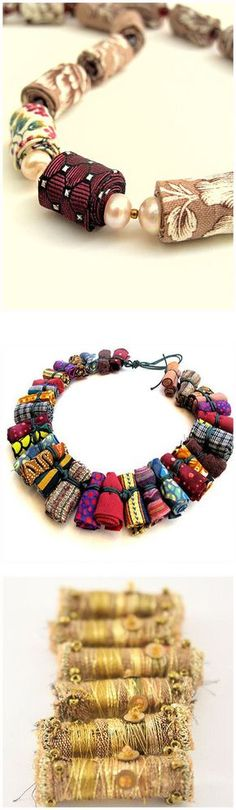 Beautiful beads made from recycled fabric