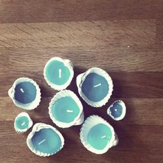 My homemade shell candles! Just melt old candles and mix with wax crayons ready to pour into shells