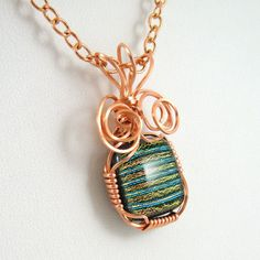 Copper Wire Wrapped Dichroic Glass Necklace by HCJewelrybyRose, $24.00