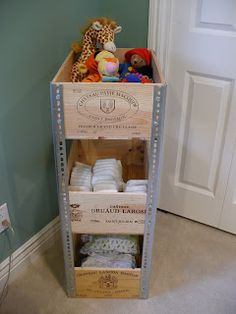 DIY easy wine crate shelf.  With the right tools, it will only take less than 30 mins. to make!