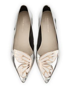 Bibi+Butterfly+Metallic+Leather+Flat+by+Sophia+Webster+at+Neiman+Marcus.