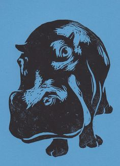 Hippo Open Edition Hand Pulled Linocut Print Blue Lino Print ART Animals | eBay