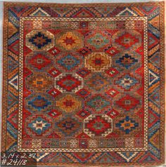 Revival of a 19th century Caucasian rug, woven in Samarkand with 100% natural vegetable dyes.SOLD