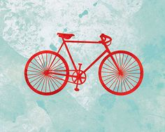 Bicycle Artwork - (red and turquoise) - 8x10 Print. $18.00, via Etsy.