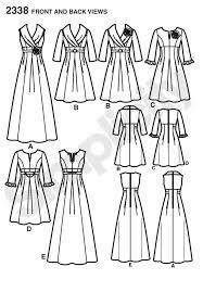 """simplicity 2338 - ook voor grotere maten. En verschillende mogelijkheden: lang, kort, gala, feestelijk en je kunt het patroon zelfs gebruiken voor een """"gewone """" jurk."""
