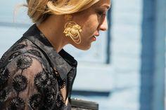 Gold baroque earrings on Mia Moretti, fashion week 2014