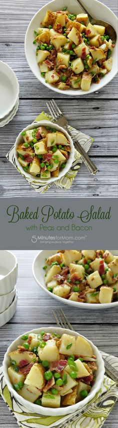 This recipe for Baked Potato Salad with Peas and Bacon combines sweet and savory flavors, and the mayo-free dressing is fresh & bright. Baked Potato Recipes, Bacon Recipes, Top Recipes, Side Dish Recipes, Crockpot Recipes, Real Food Recipes, Baked Potatoes, Savoury Recipes, Yummy Recipes