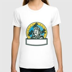 World War One Pilot Airman Spad Biplane Circle Retro T-shirt Illustration of a vintage world war one pilot airman aviator with mustache bust with spad biplane fighter planes and stars in background set inside circle done in retro style. #illustration #WorldWarOnePilot
