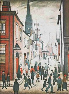 "LS Lowry - ""The Organ Grinder"" Salford. I always feel inspired when I look at his matchstick men. Salford, English Artists, A Level Art, Chef D Oeuvre, Naive Art, Art For Art Sake, Urban Landscape, Types Of Art, Your Paintings"