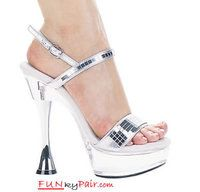 C-Carla, 6 Inch High Heel with 1.75 Inch Platform with Cone Heel and Mirror Sandal Made by ELLIE Shoes