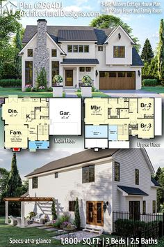 3 Bedroom Modern Farmhouse Plan 62964DJ from Architectural Designs gives you 1800 square feet of living space with 3 bedrooms and 2.5 baths. AD House Plan #62964DJ #adhouseplans #architecturaldesigns #houseplans #homeplans #floorplans #homeplan #floorplan #houseplan #3bedhouse #3bedroom #openconcept #modernhomedesign #homedesigns #concepthome Floor Plans 2 Story, House Plans 2 Story, Sims 4 House Plans, Modern House Plans, Farmhouse Layout, Farmhouse Floor Plans, Cottage Floor Plans, Family Home Plans, 3 Bedroom Home Floor Plans
