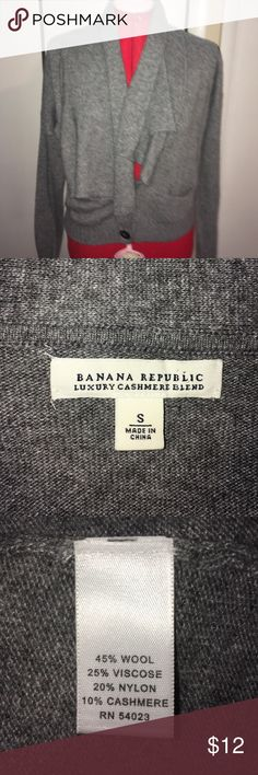 Banana Republic Cashmere blend cardigan S Grey two button cardigan with waterfall neck hip length gently worn Banana Republic Sweaters Cardigans