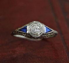 Antique Diamond  Sapphire Engagement Ring, 18k Edwardian Filigree Basket Setting, Ethical Conflict Free Diamond Ring