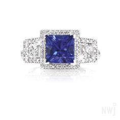 Diamond Collection: Hand Crafted White Gold Ring With Diamonds and Tanzanite By NWJ *Valid for 2013 Gold Jewelry, Jewelry Accessories, Fine Jewelry, Jewellery, White Gold Rings, Silver Rings, Besties, Sapphire, Diamonds