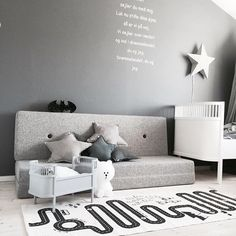 KK 3 fold multigrey w. grey button. Multipurpose furniture in Danish design for both kids and adults. Photo credit:  @made.by.mee