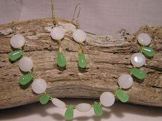 Green and White Glass Necklace and Earrings by CathysCraftyDesigns, $25.00