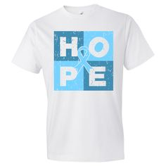 Shop HOPE Prostate Cancer awareness shirts and gifts spotlighting a cube style distressed design with the word HOPE and an awareness ribbon in the center #ProstateCancerHope #ProstateCancerAwareness #ProstateCancerShirts