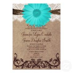 Rustic Teal Gerber Daisy Lace Wedding Invitation.  Great for country weddings with brown and turquoise colors. #wedding #country #daisy #teal