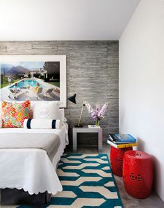 Teal and Red - multicolored  and neutral mixed room.