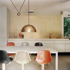 Gold Pendant Light at the Atrium House in Berlin, Germany | Remodelista - great backsplash, too.
