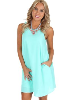 Pocket A-Line Dress Mint