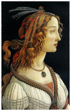 Simonetta Vespucci, sobre la base de un retrato realizado por Piero di Cosimo. La atribución a Botticelli es objeto de debate, algunos eruditos consideran que es obra de Jacopo del Sellaio.
