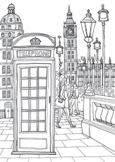 Coloring Europe Charming London I Waves of Color is part of Adult coloring page - Coloring Book Pages, Printable Coloring Pages, Coloring Sheets, London Drawing, Buch Design, Free Coloring, Doodle Coloring, Painting & Drawing, Drawings