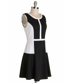 TW_5038 Short Black and White Dress