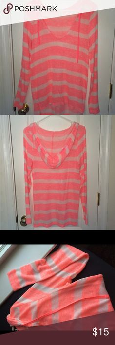 Bright pink striped pullover Super girly & cute little hoodie has only been worn twice! It's very thin, not like a sweatshirt. Striped white & pink Sweaters V-Necks