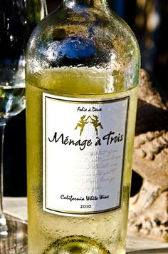 Menage a Trois White Table Wine: blend of Chardonnay, Moscato, and Chenin Blanc - fruity with good acidity