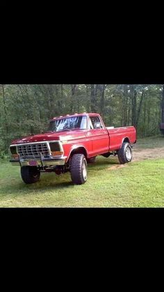 vintage red ford truck