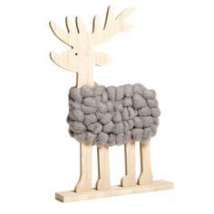 Wilko Festive Wooden Stag Ornament