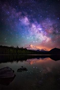 The Milky Way galaxy as drifts beyond Mt. Hood as seen from the beautiful Lost Lake in Oregon [OC] [960x1440]