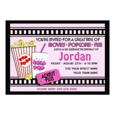 Popcorn and a Movie Party Invites