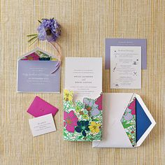 Colorful Floral Invitations | Designer Cheree Berry of Cheree Berry Paper favors bold floral prints (just right for a destination wedding); smart, playful copy; and unexpected details. | SouthernLiving.com