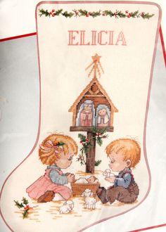 Vtg Manger Stocking Kit Ruth Morehead Holly Xmas JCA Stitch Needle Treasure CCS…
