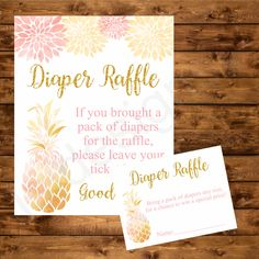 Tropical Diaper raffle, pineapple pink and gold printable diaper raffle cards an. - - Tropical Diaper r Baby Shower Cards, Baby Shower Fun, Baby Shower Themes, Baby Shower Invitations, Baby Shower Gifts, Shower Ideas, Luau Baby Showers, Gold Baby Showers, Baby Shower Centerpieces
