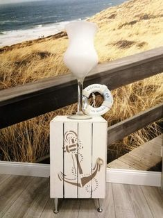 Wanddeko Geschenk Ostsee Wasser Anker 15 cm aus Holz Maritim Deko Meer Tisch