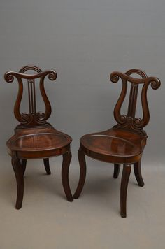 Pair Of William IV Hall Chairs In Mahogany - Antiques Atlas